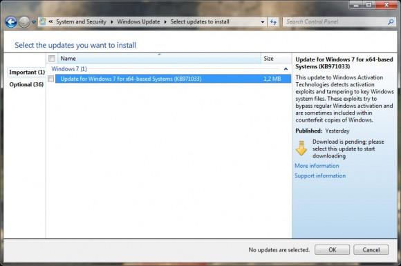 Windows Update oferece a atualização KB971033. Clique para ampliar.