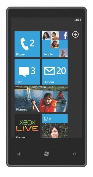 Tela inicial do Windows Phone 7 Series.