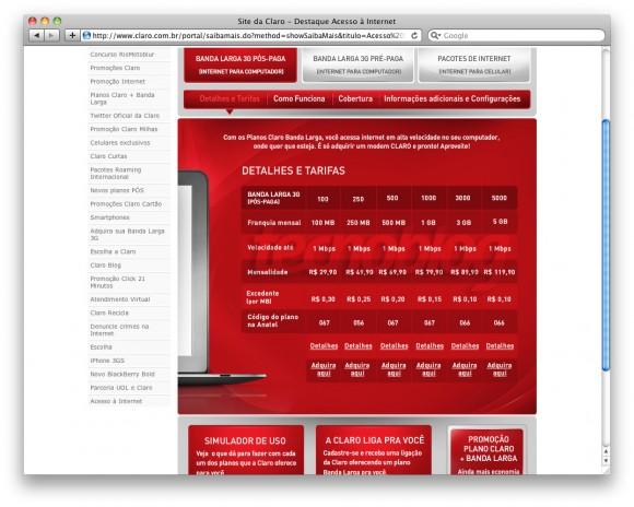 Reprodução do site da Claro com informações sobre banda larga 3G.
