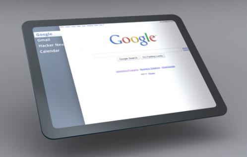 Boatos sobre o Google Tablet existem desde fevereiro de 2010, data em que essa arte-conceito foi produzida