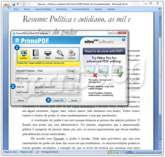 Ajustes do PrimoPDF para converter .doc para .pdf.