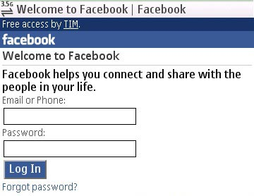 Facebook 0 num Nokia 5800. Clique para ampliar.
