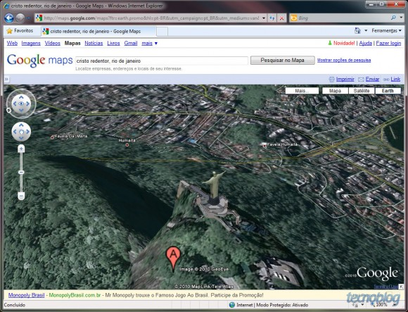 Cristo Redentor em 3D no Earth do Google Maps. Clique para ampliar.