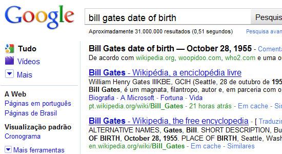 Data de nascimento de Bill Gates. Clique para ampliar.