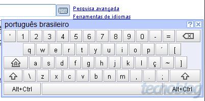Teclado virtual no Google Brasileiro. Clique para ampliar.