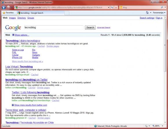 Ressuscitando o Google antigo. Clique para ampliar.