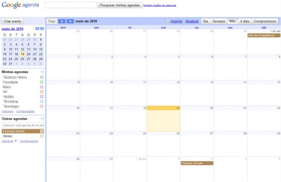 Google Calendar. Clique para ampliar.