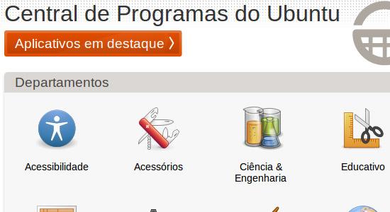 Central de programas no Ubuntu 10.04. Clique para ampliar.