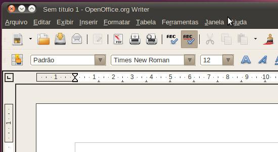 OpenOffice no Ubuntu 10.04. Clique para ampliar.
