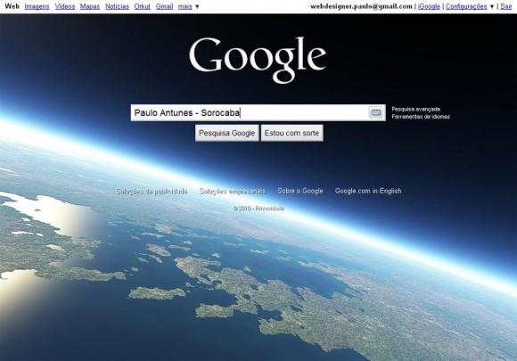 No papel de parede: o planeta Terra. Na mensagem subliminar: aquilo que o Google quer dominar. | Enviado por: Paulo Antunes, de Sorocaba