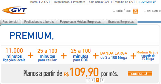GVT: Telefonia fixa e móvel, discagem direta e banda larga em Jundiaí (Reprodução)