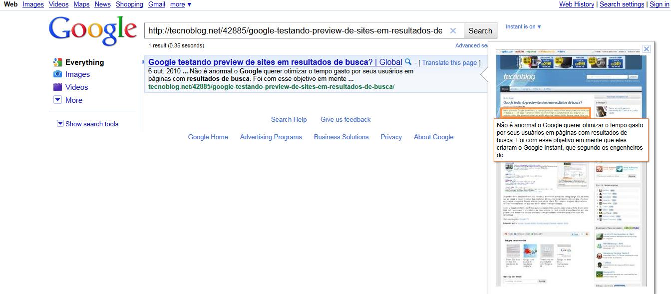 Google testando preview de sites em resultados de busca  atualizado ... c2550b3a07a