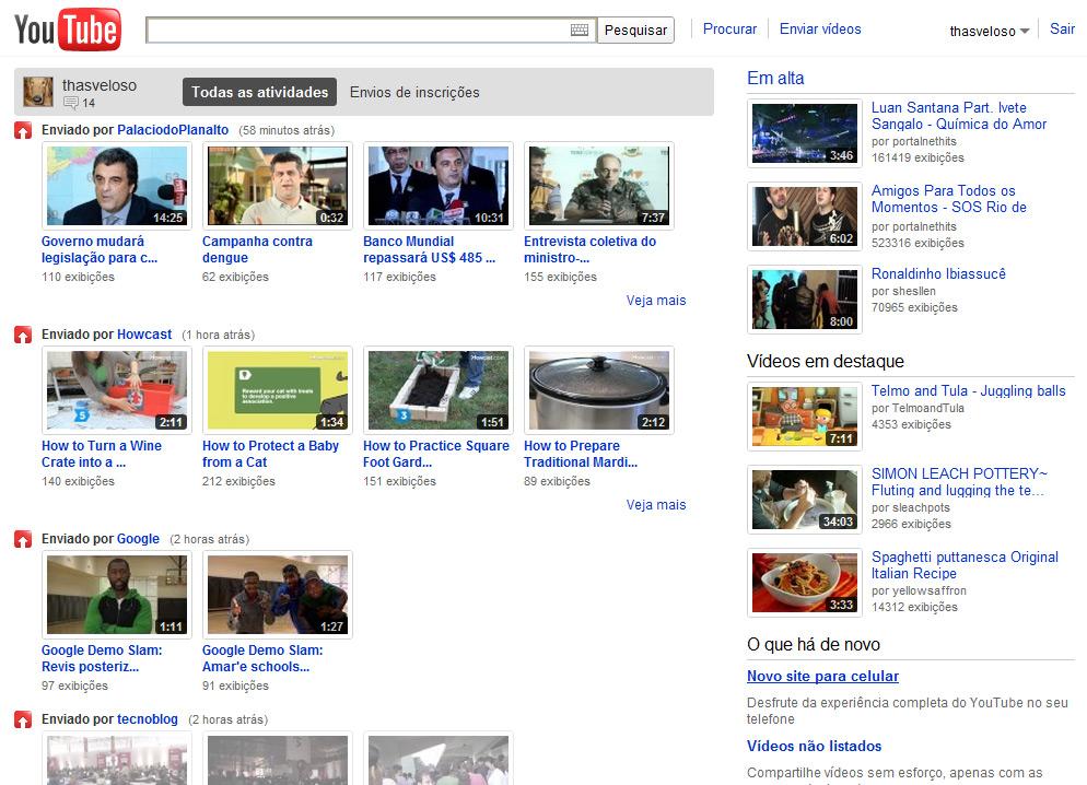 Youtube ganha nova p gina inicial agora sim com foco no for Central de compras web opiniones