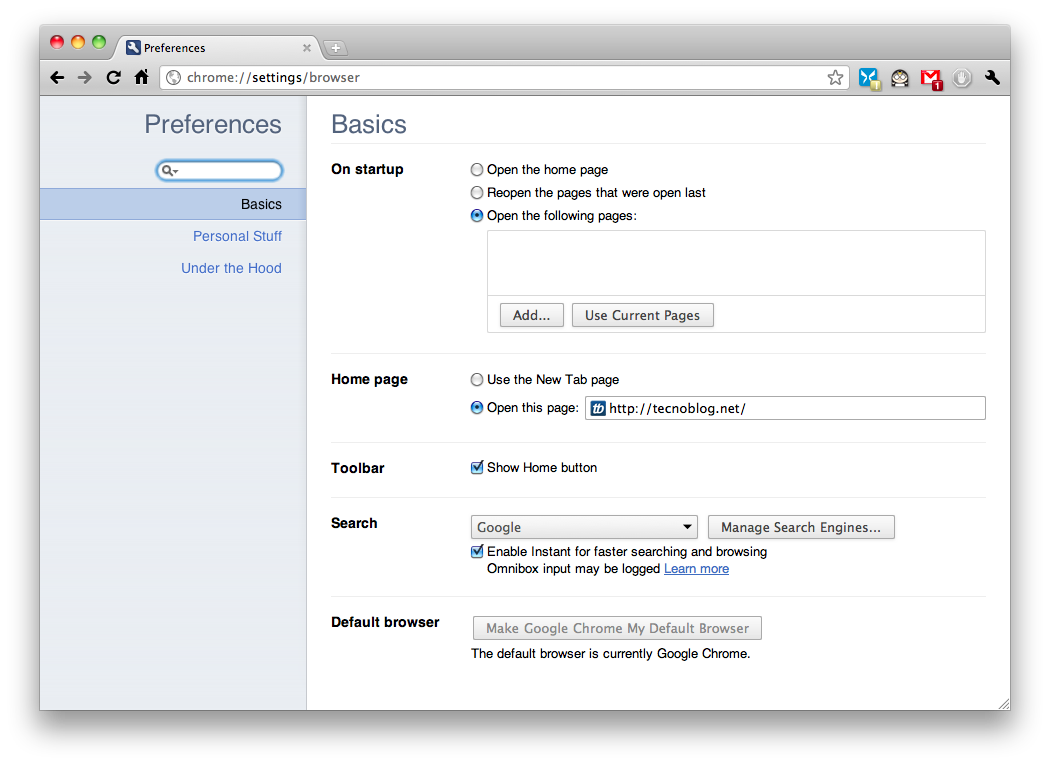Google Chrome ganha novo painel de configurações –