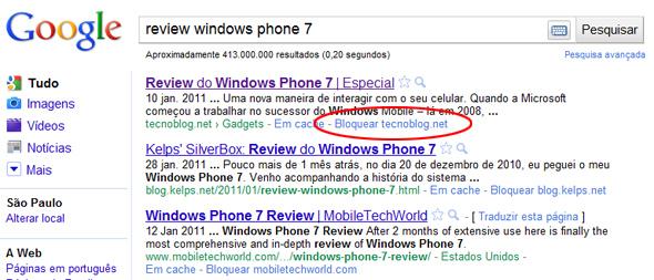 Resultados de busca do Google