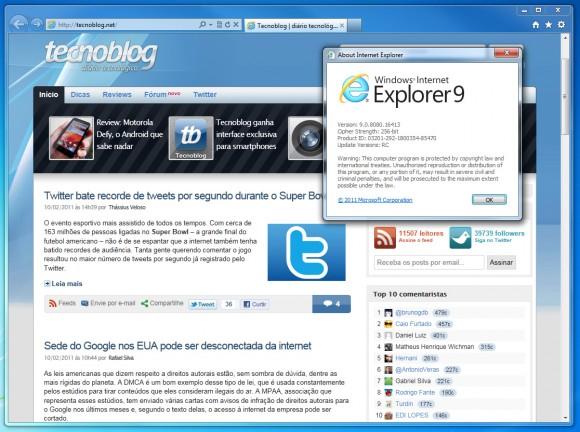 Screenshot do Internet Explorer 9 RC