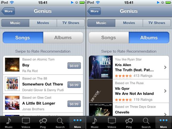 Captua de tela - Genius no iPod Touch
