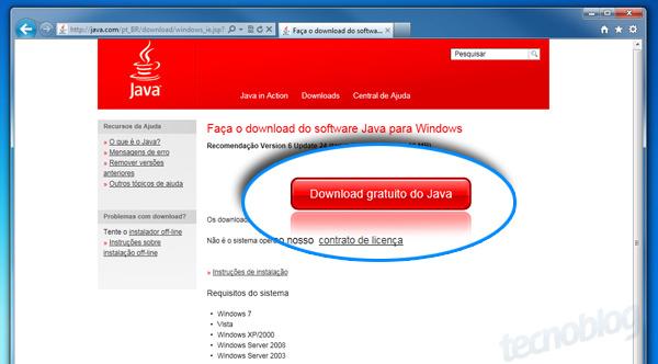 Como instalar o java mquina virtual tecnoblog pgina de download do java stopboris Images