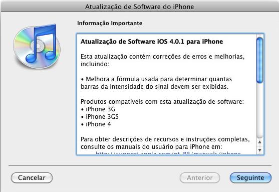 Captura de tela: atualização do iOS no iTunes