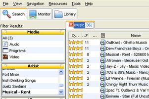 LimeWire rodando no Windows XP.