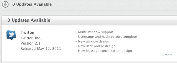 Captura de tela — Twitter para Mac: atualização via Mac App Store