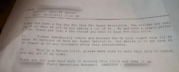 E-mail da Gamestop solicitando abertura das caixas