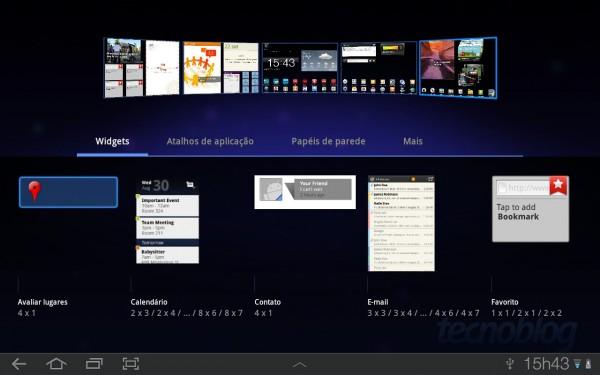 Seletor de Widgets na interface TouchWiz UX | Clique para ampliar
