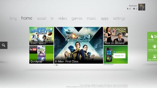 Nova interface do painel do Xbox Live