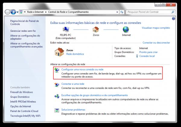 """Central de Rede e Compartilhamento, destaque para a opção """"Configurar uma nova conexão ou rede"""""""
