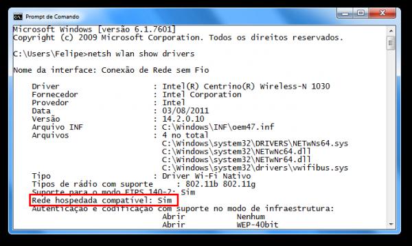 Resultado do comando netsh em um computador com placa de rede que suporta o Virtual Wi-Fi