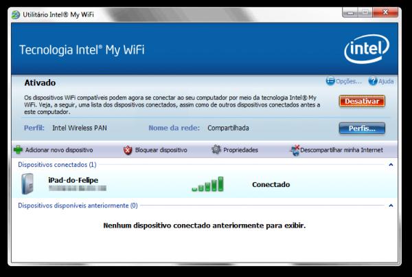 Utilitário Intel My WiFi