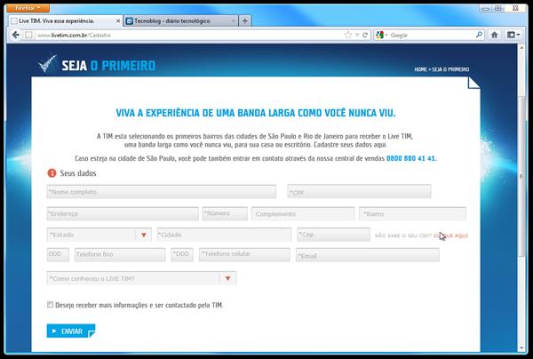 Site do Live TIM oferece cadastro para clientes interessados