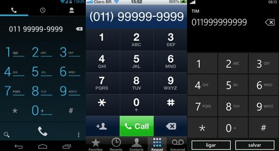 Discadores do Android, iPhone e Windows Phone com nove dígitos