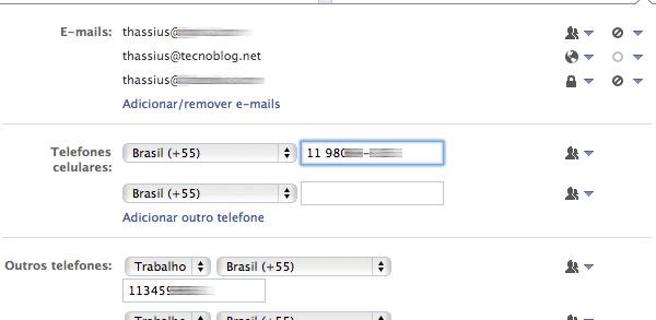 """""""Informações de contato"""" no Facebook"""