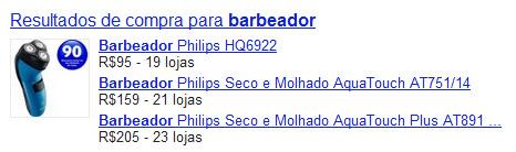 Resultados de compra para barbeador no Google