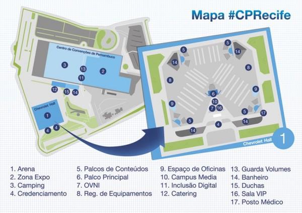 Mapa oficial da Campus Party Recife, no Centro de Convenções de Pernambuco