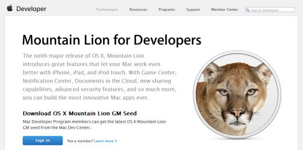 Mountain Lion GM no canal de desenvolvedores