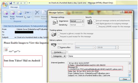 Amostra de spam coletada pela Symantec