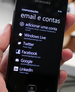 Windows Phone - Ajustes de emails e contas em redes sociais