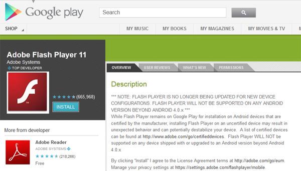 Flash Player no Google Play para Android (Imagem: Reprodução)