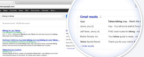 Google.com com pesquisa do Gmail