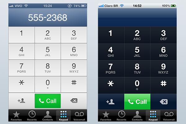 Discador do iPhone: iOS 6 à esquerda e iOS 5 à direita