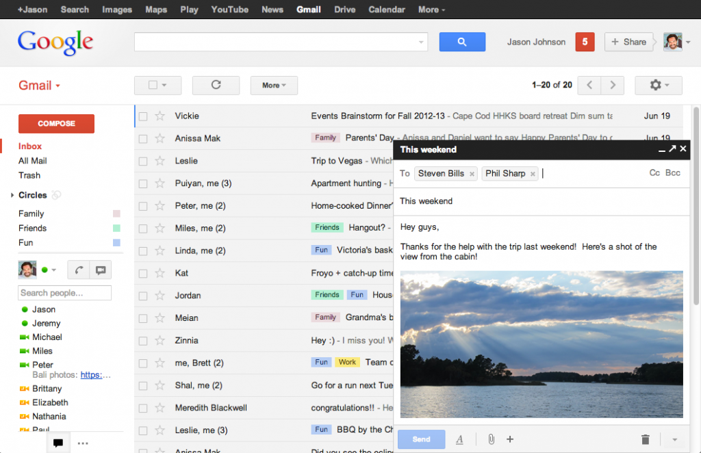Layout atual do Gmail