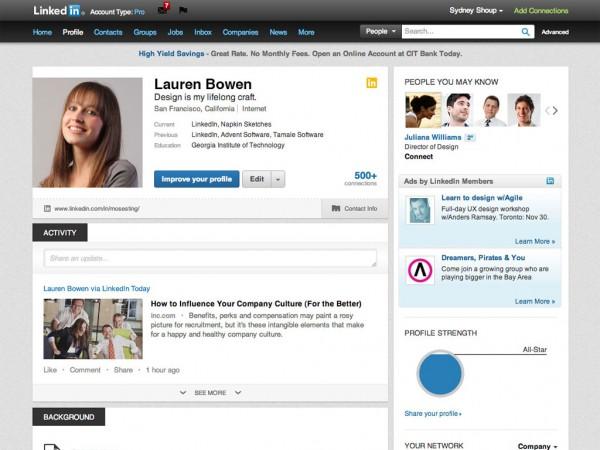 Perfil do LinkedIn após redesign em outubro de 2012
