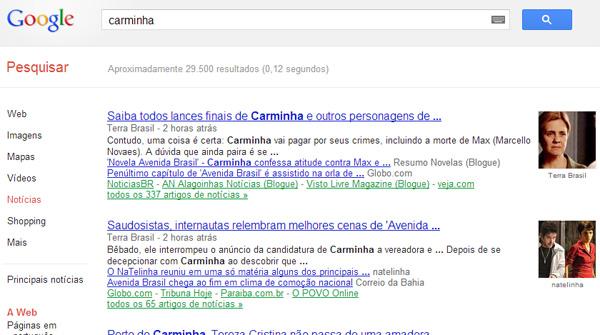 Assunto do dia no Google Notícias