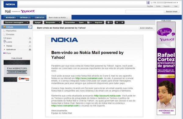 Tela do Nokia Mail