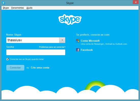 Login no Skype para desktop