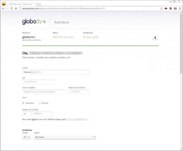 Cadastro do GloboTV+: precisa morar em Minas Gerais