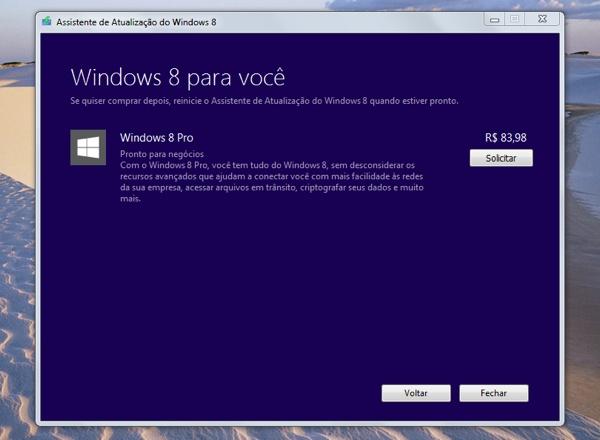 Cobrança do Windows 8 (imagem enviada pelo leitor André Terra)