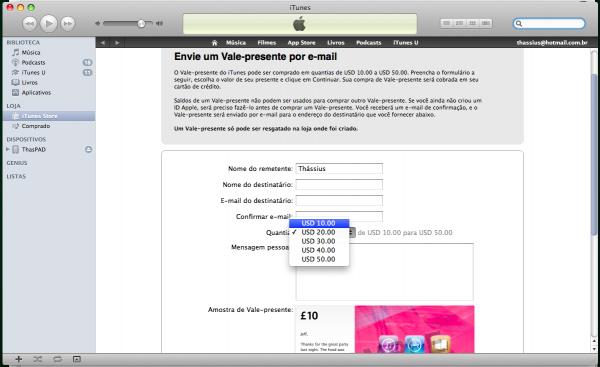 Envio de gift card no iTunes
